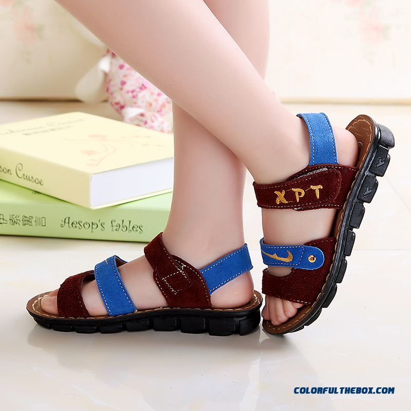 Boys Sandals New Leather Specials Baby Sandals Brown Brown Yellow Blue