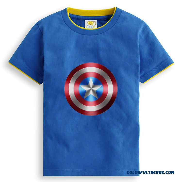 Boys T-shirt Double Collar T-shirt Summer Casual Cotton Round Neck Short Sleeve Kids Clothing Personality Printing