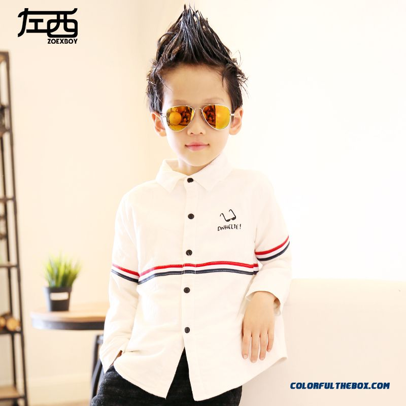 Boys Winter Blouses Thicker Long-sleeved Shirt Kids Thicken Clothing Classic White And Black