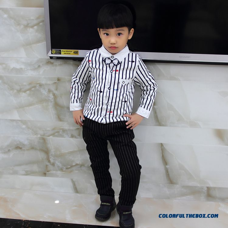 Boys Winter Bottoming Shirt New Tie Coat Warm Shirt Thickening Stripe
