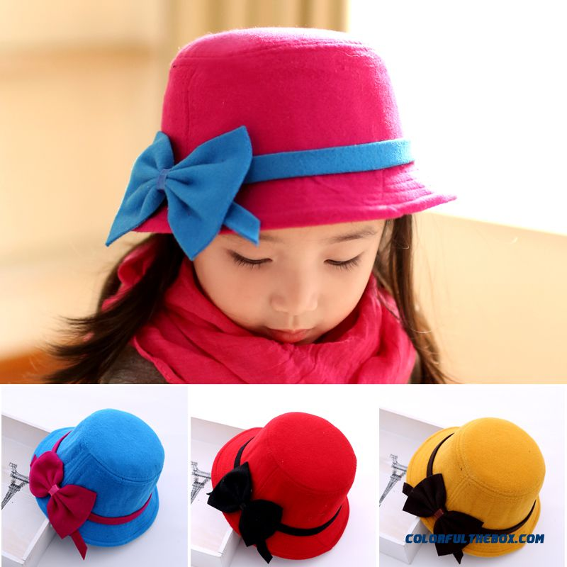 52bf177ddbd Cheap Brand 2016 Fashion Winter Hat Accessories Design For Girls Woolen  Winter Hat Korean Children Kids Bowknot Caps Sale Online