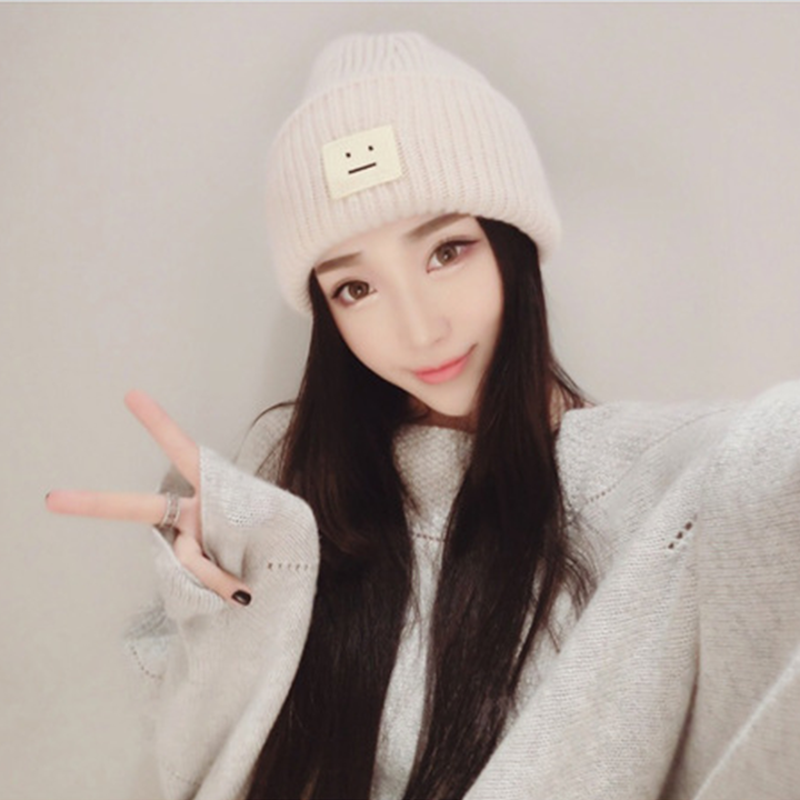 Brand 2016 Fashion Winter Hat Couple Models Thickened Cashmere Lady Knitted Cap