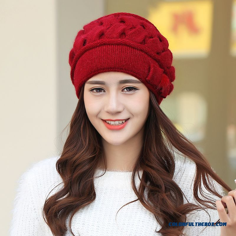fe2acc79375 ... Brand 2016 Fashion Winter Hat Double-knitted Wool Women Hat Cap Cute  Ear Protection Accessories