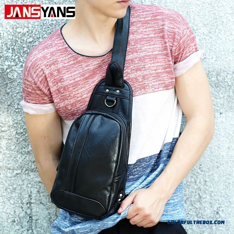 Brand Design Casual New Solid Black Pu Leather Sport Men's Crossbody Bags