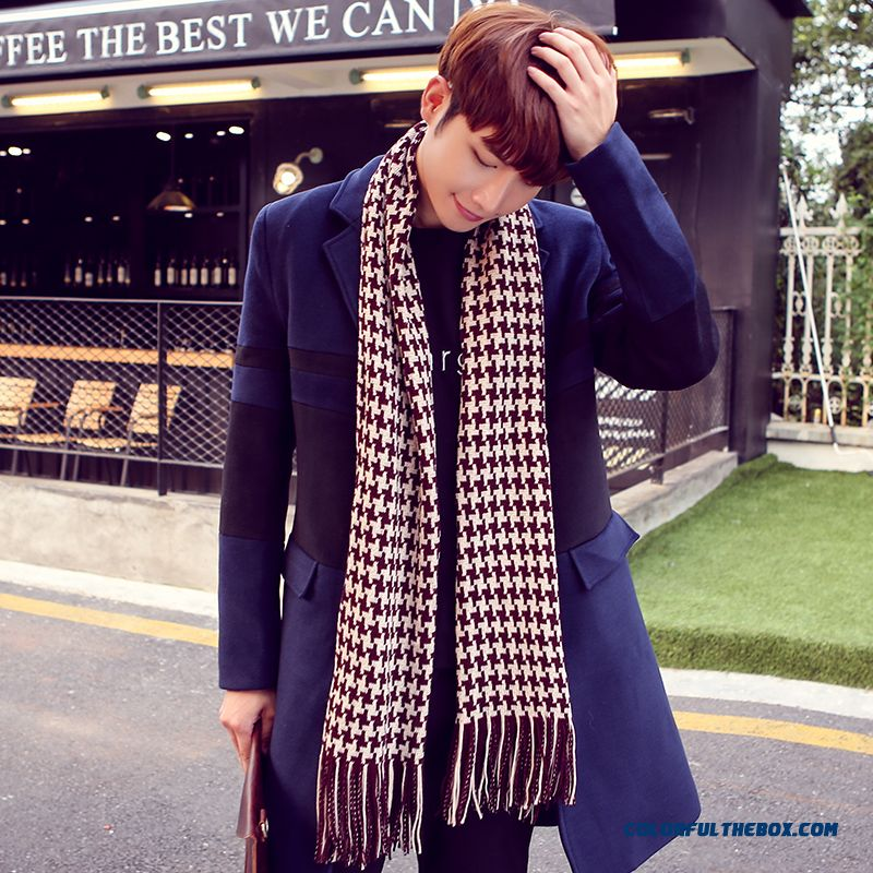 Brand New Fashion Winter Hat Houndstooth Fringed Scarves Men's Accessories Hot