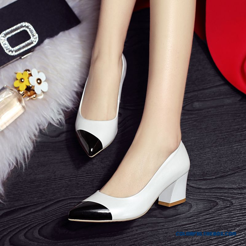 Breathable European And American Style Of Genuine Leather Rough Heel Shallow Mouth Women Pumps