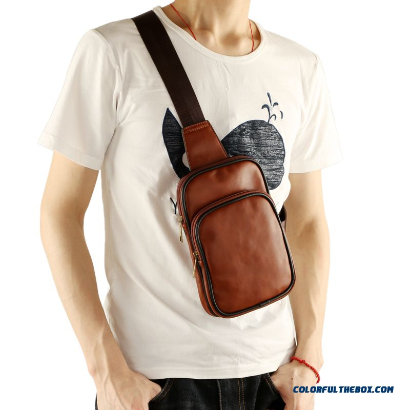 Brief Design Pu Crossbody Man Bag Chest Bag Outdoor Sports