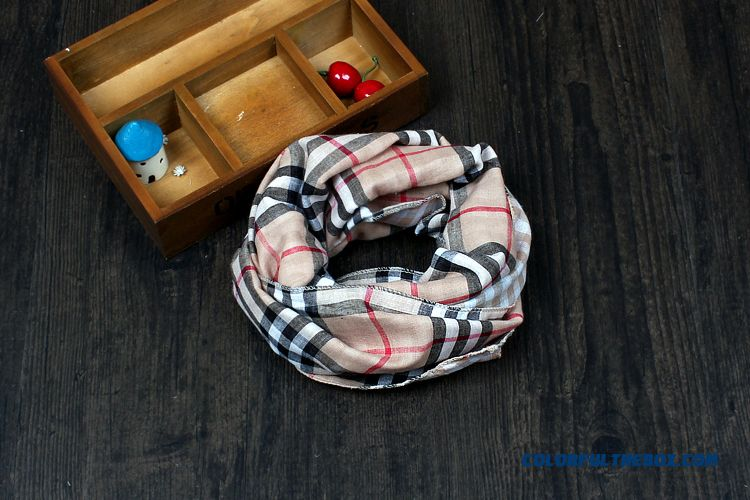 British All-match Plaid Scarf Sided Babies Boys And Girls Cotton & Linen Neck Scarves Kids - more images 1
