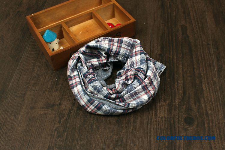British All-match Plaid Scarf Sided Babies Boys And Girls Cotton & Linen Neck Scarves Kids - more images 3