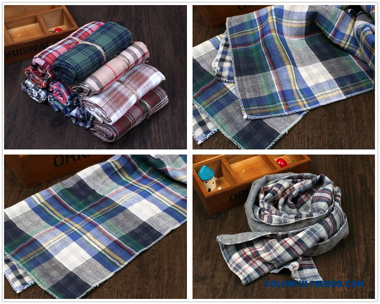 British All-match Plaid Scarf Sided Babies Boys And Girls Cotton & Linen Neck Scarves Kids - more images 4