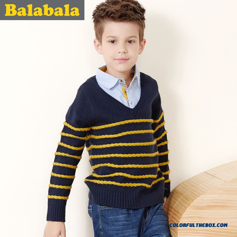 British Kids Clothing Big Boy Round Neck Sweater 2016 Winter New Sweater Fake Two-piece