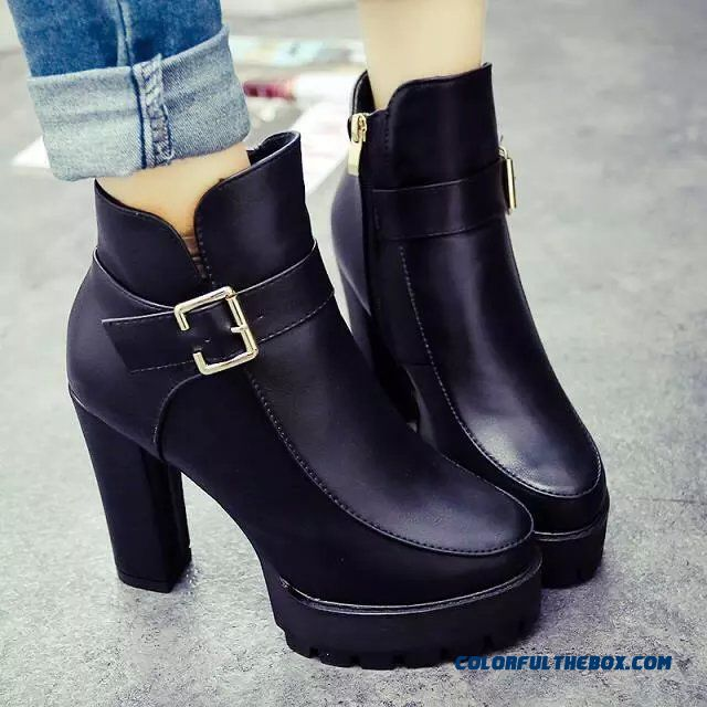 British Style Autumn And Winter Ankle Boot Martin Boots Women High-heeled Shoes Tide