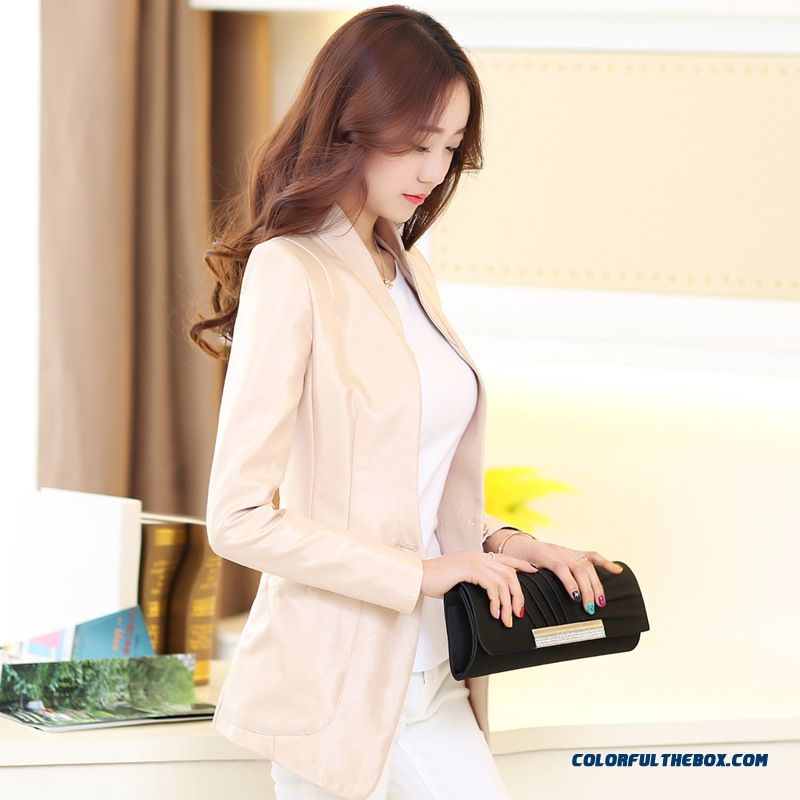 Buckle Small Suit Lady Jacket Korean Cultivating Long-sleeved Business Suit For Women