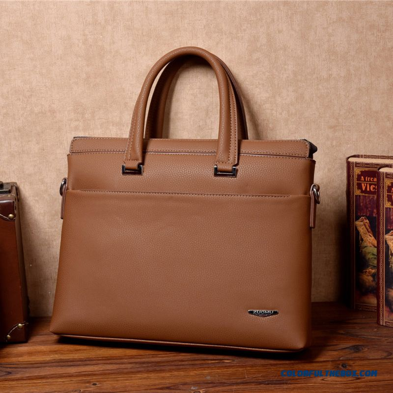 Business Cowhide Shoulder Bag Handbag Men's Genuine Leather Briefcase Horizontal And Vertical Two Style
