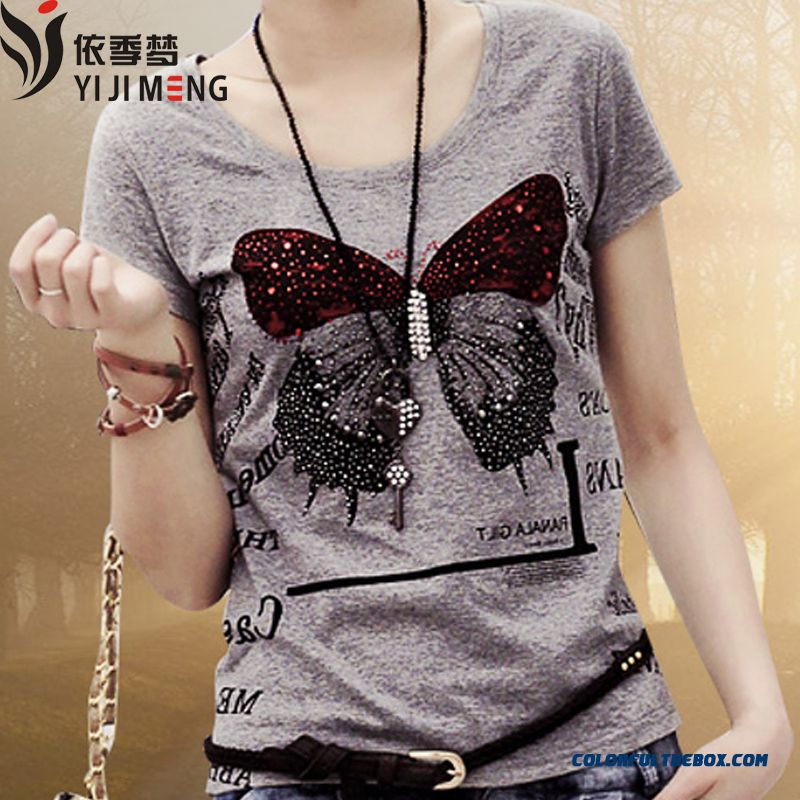 Butterfly Print Large Size Cotton Slim Tide Short-sleeved T-shirt Women