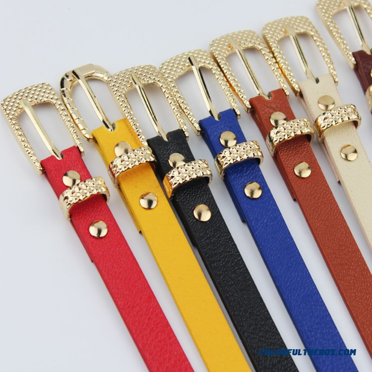 Candy Color Thin Leather Belt Belt Korean Fashion New Free Shipping Foe Women - more images 1
