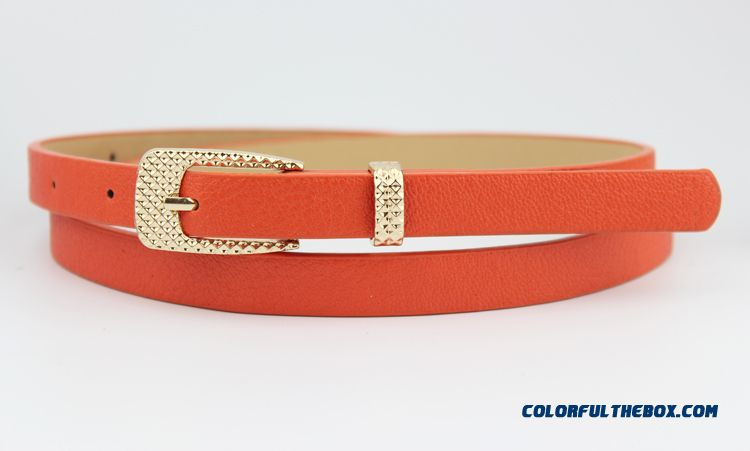 Candy Color Thin Leather Belt Belt Korean Fashion New Free Shipping Foe Women - more images 2