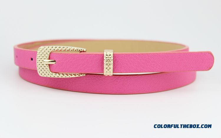 Candy Color Thin Leather Belt Belt Korean Fashion New Free Shipping Foe Women - more images 3