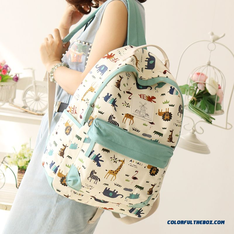 dfd2ff988f8f Canvas Wearable Backpack Animal Print Travel Backpacks Student Girl  Schoolbags For Women ...