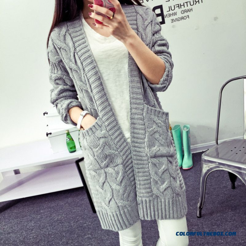 Cardigan For Women Lady Medium Long Sweater Loose Coat Grey Wine Red Blue
