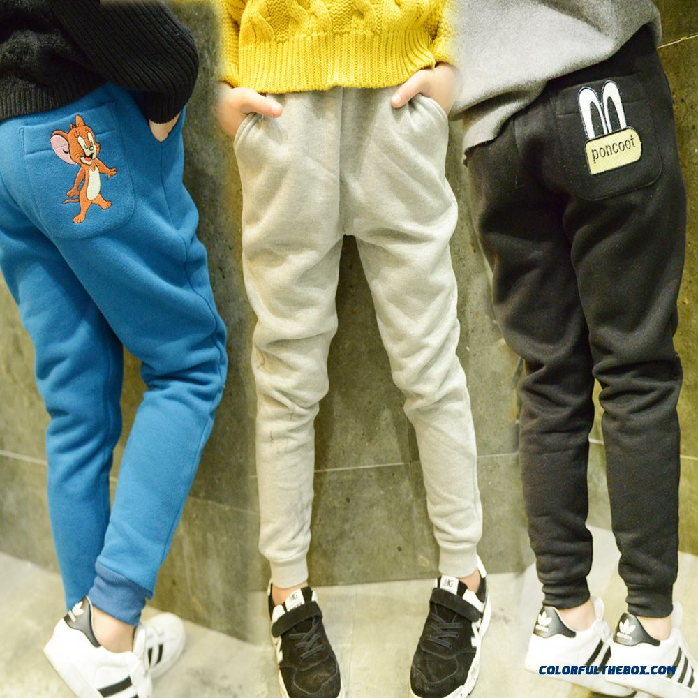 Cartoon Casual Pants Girls Thickening Sweatpants Long Pants