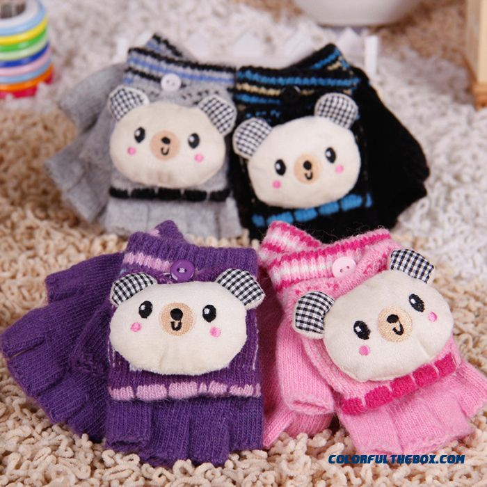 Cartoon Cute Students Write Five Fingers Wool Gloves Kids Warm Accessories Gloves Half Finger Clamshell