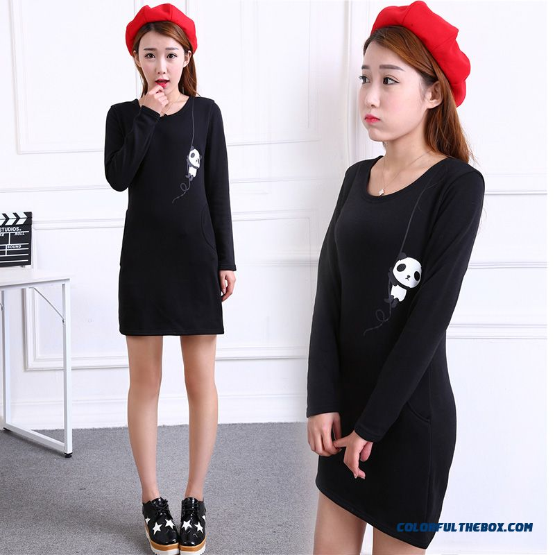 Cartoon Medium-long Long-sleeved Women T-shirts Free Shipping Black