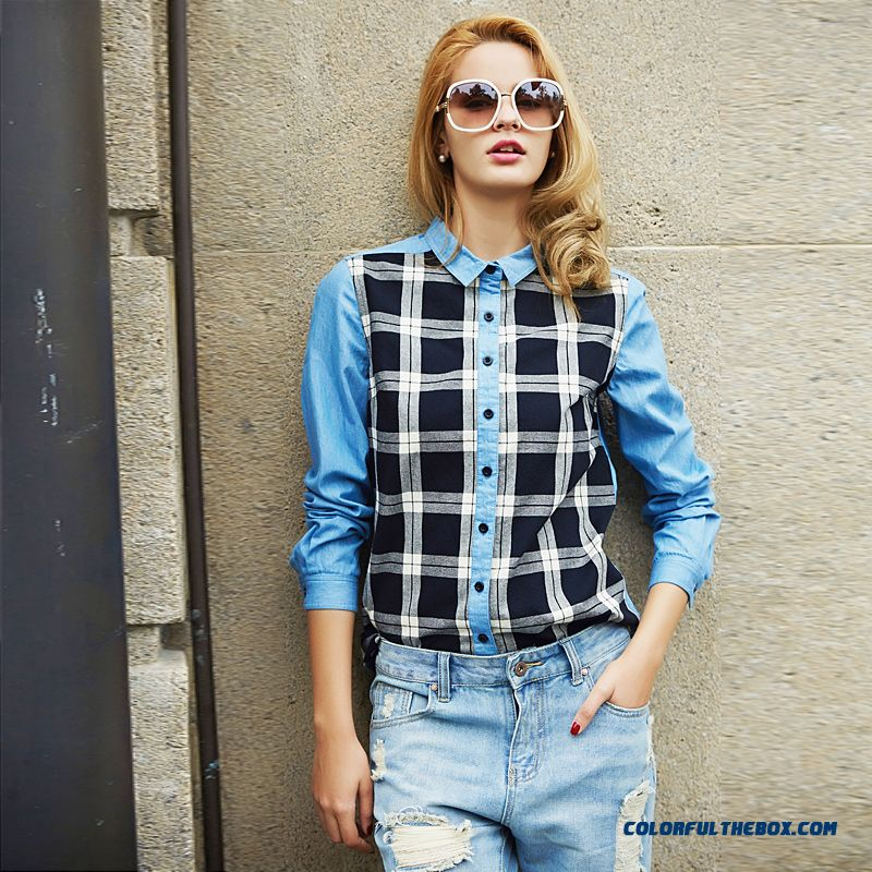 Case Grain Britpop Fashion Mix Match Denim Fashion Stitching Long-sleeved Women Shirt