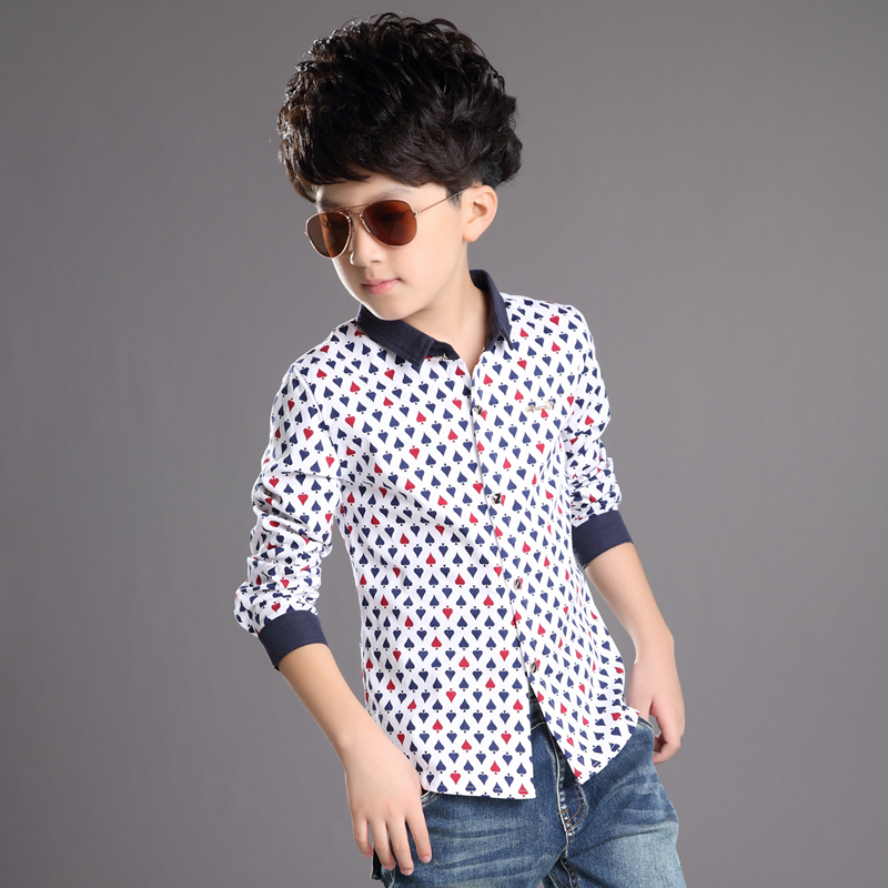 Casual Long-sleeve Shirt Korean Version Wholesale Kids' Clothing Poker Pattern For Boys