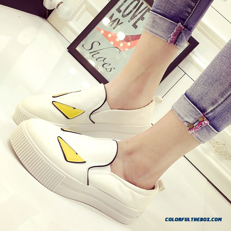 Casual Shoes Thick Bottom Small Monster Pattern Canvas For Women