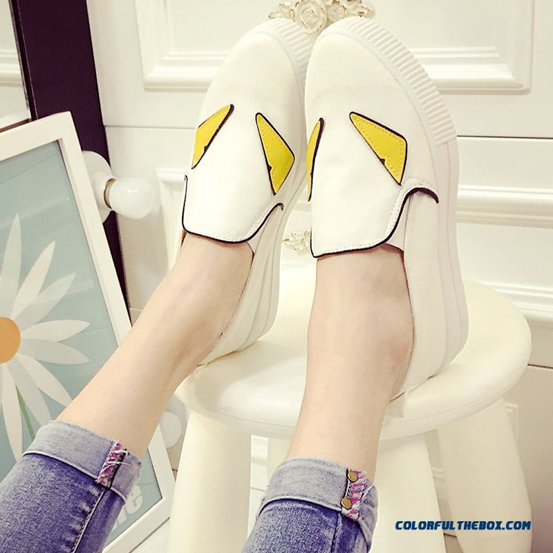 Casual Shoes Thick Bottom Small Monster Pattern Canvas For Women - more images 4