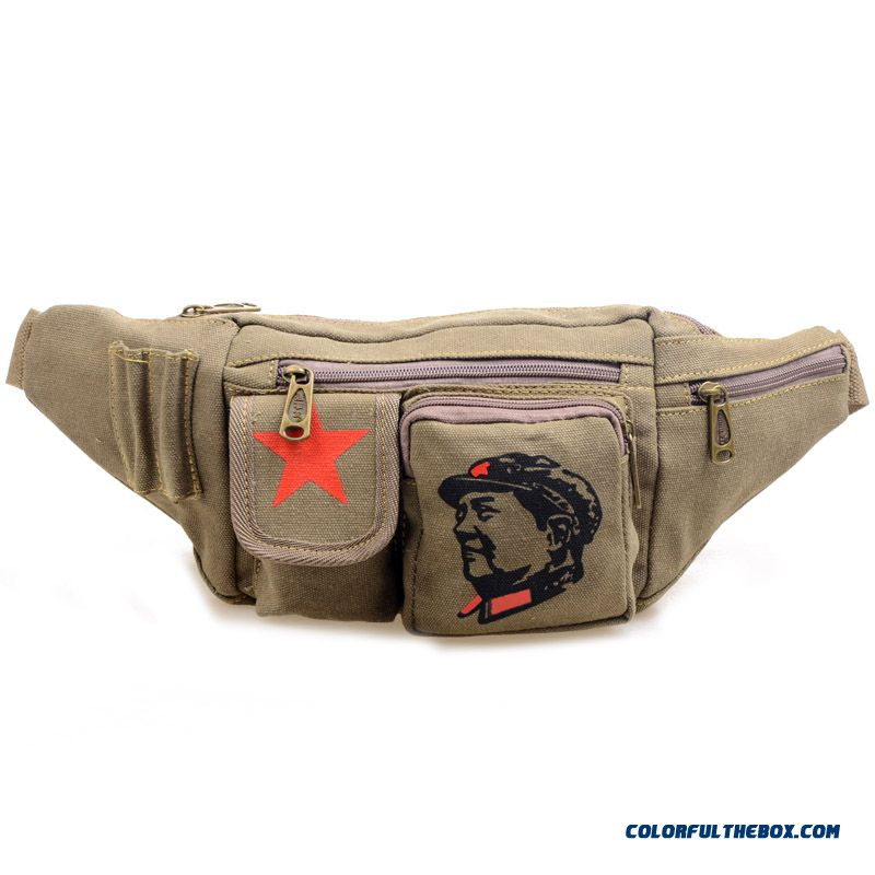 Casual Small Waist Packs Serving The Peoplepackage Red Five-pointed Star Bags For Men