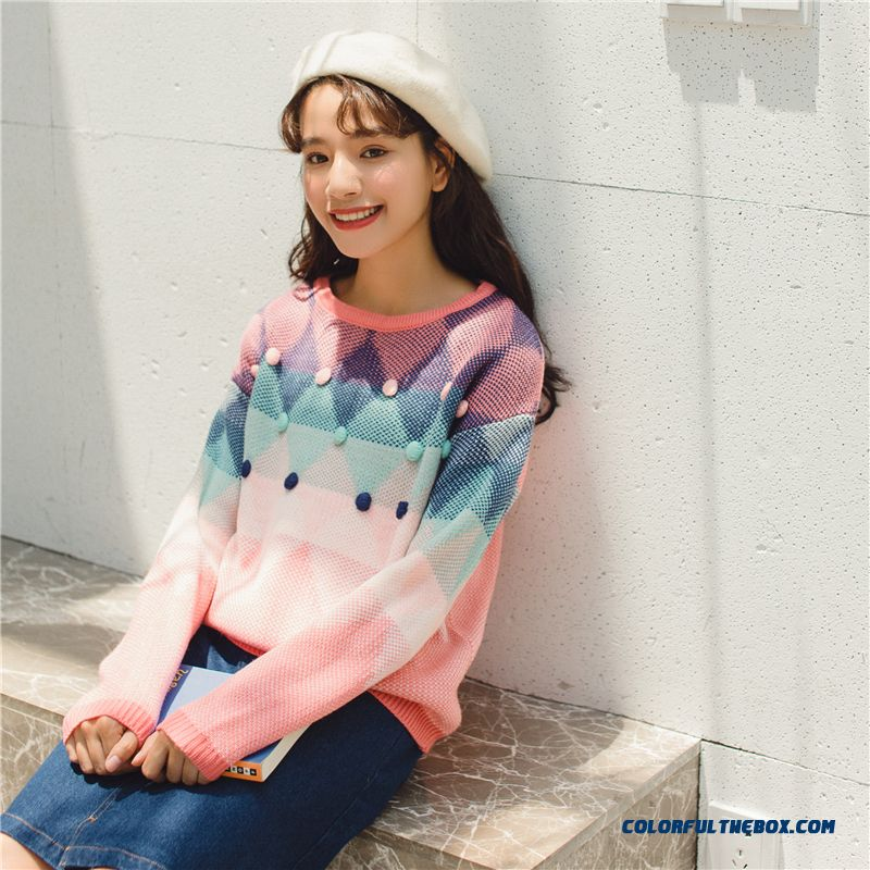 Casual Thick Candy Color Fashion Sweater Women's Sweaters Lady Cute Kawaii Female Vintage Harajuku Ulzzang Jumper For Women