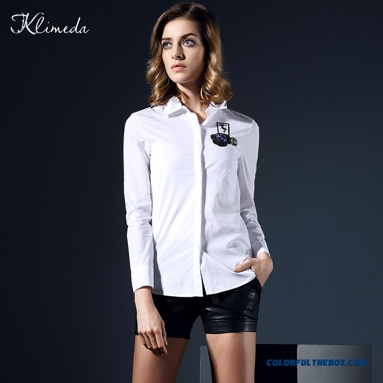 Cd Embroidered Collar Shirt Women European And American Cotton Long-sleeved Shirt Solid Color Cotton Cardigan