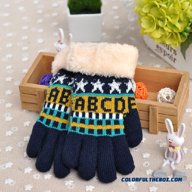 Cheap Child Kids Mittens Double Thick Points Finger Big Boy Student Five Fingers Warm Girl Autumn And Winter Wool Outdoor