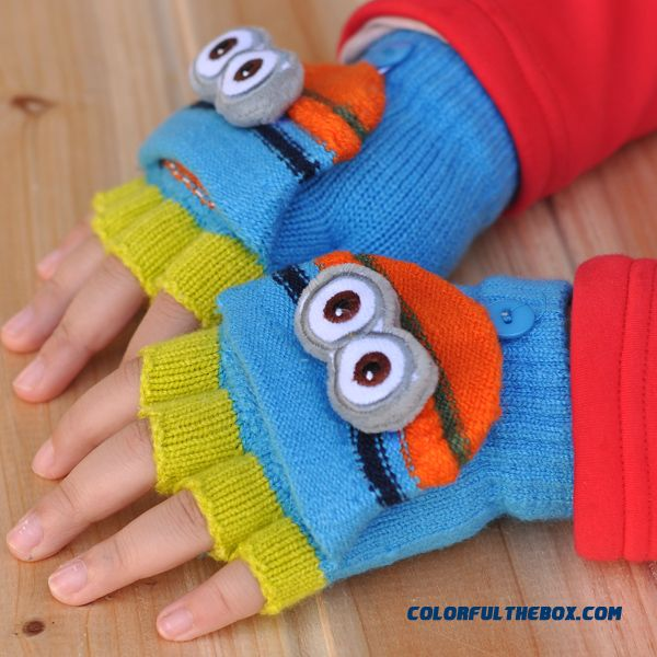 Cheap Closeout Accessories Kids Mittens Cute Little Yellow Doll Boys And Girls Clamshell Fingerless Warm Wool Autumn And Winter Thickening Half Fingers Students Write Gloves - more images 1