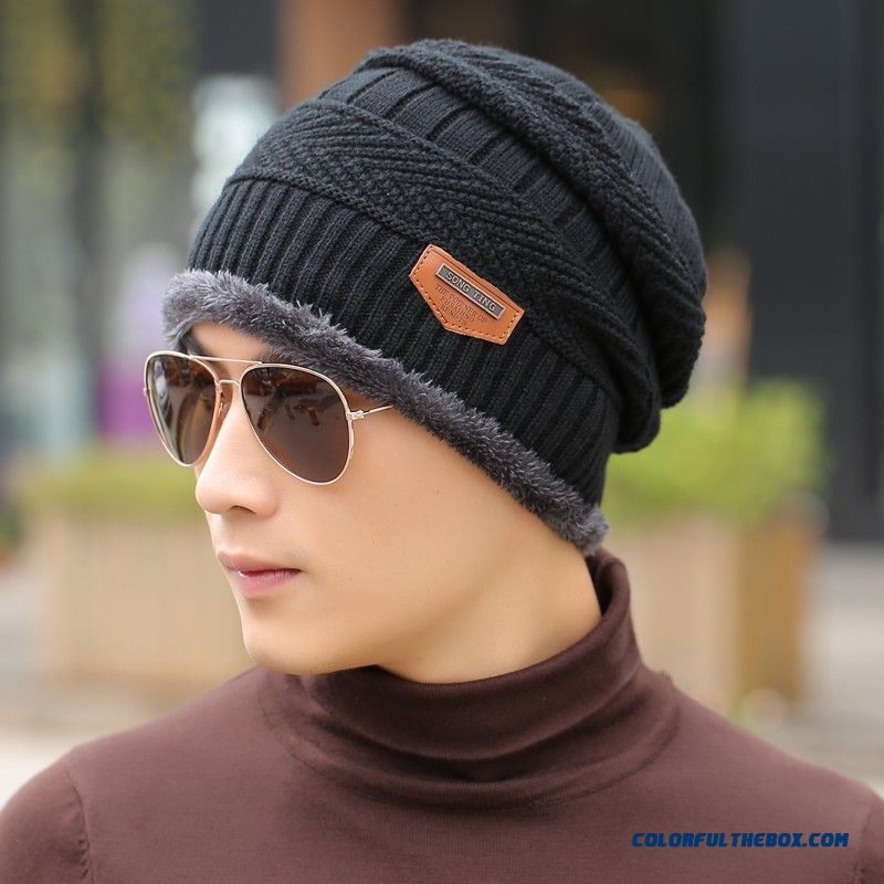 Cheap Closeout Korean Style Of Thick Wool Knitted Hat Men's Accessories Winter