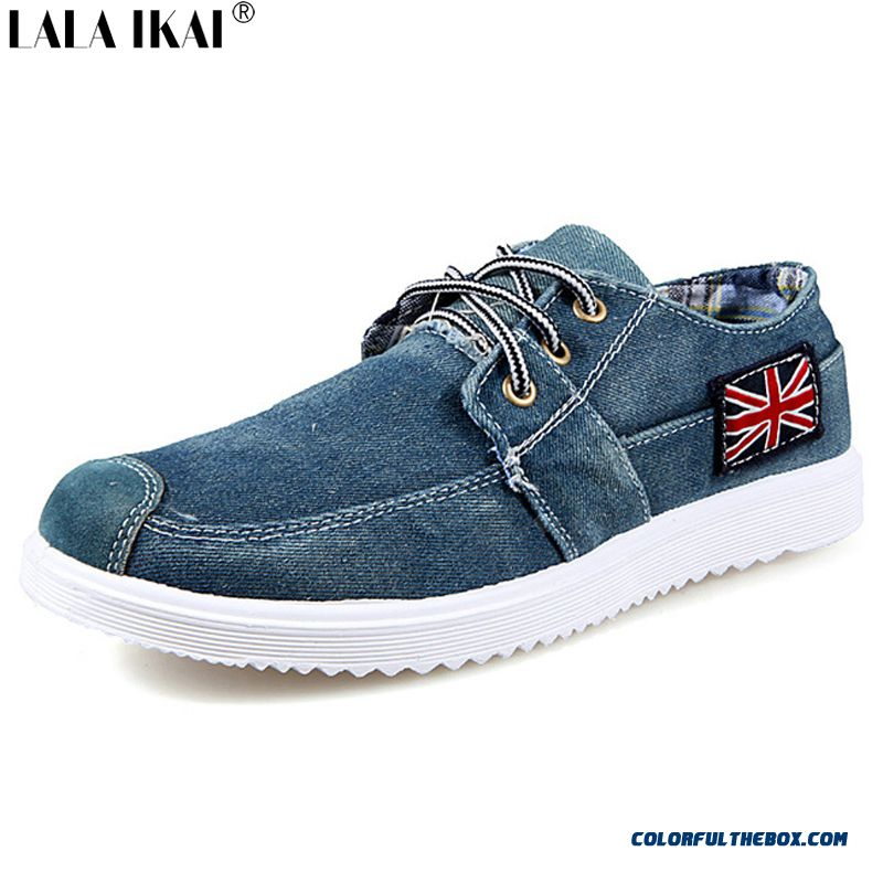 Cheap Fashion Men Casual Shoes Denim Canvas Shoes British Flag Lace Up Breathable Men Shoes Casual