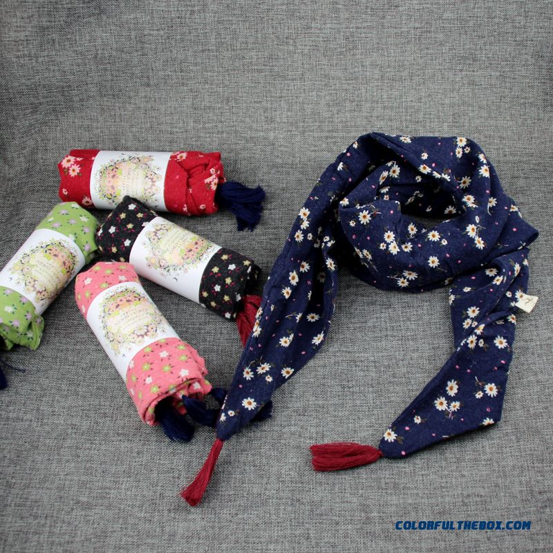 Cheap Floral Triangle Boys And Girls Scarf Double Cotton Free Shipping Kids Warm Cozy Accessories