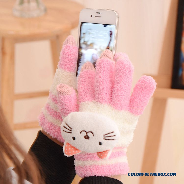 Cheap Price Good Quality Winter Women Accessories Touch Screen Plush Cartoon Cat Mittens Gloves