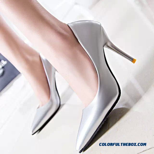 Cheap Sexy Fine Heel Elegant Shoes Pointed Candy Color Patent Leather Women Pumps