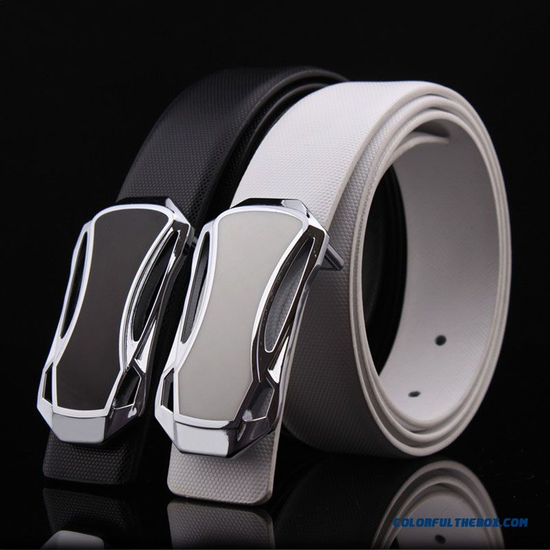Cheap Wholesale Black And White Men's Accessories Genuine Leather Smooth Buckle Cowhide Blets