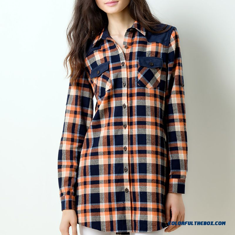 Cheap Wholesale Blouse All-match Brushed Stitching Loose Cotton Medium-long Plaid Shirt - more images 1