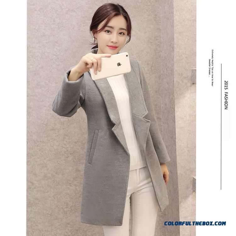 Cheap Winter 2015 Women's Woolen Coat Long Suit Collar Woolen Coat