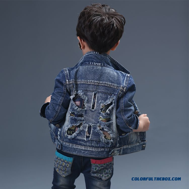 Chic Top-quality Denim Fabric Comfortable Handsome Design For Kids Boys Qutumn Coats