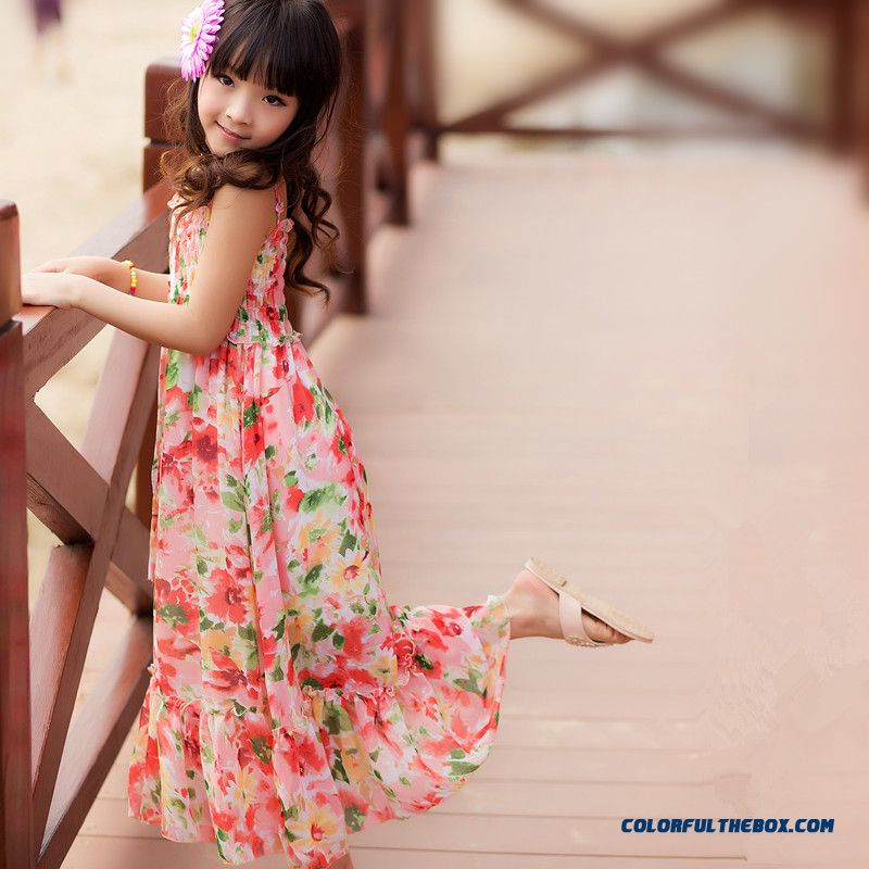 Chiffon Girls Harness Dress Seaside Beach Dress Summer For Kids