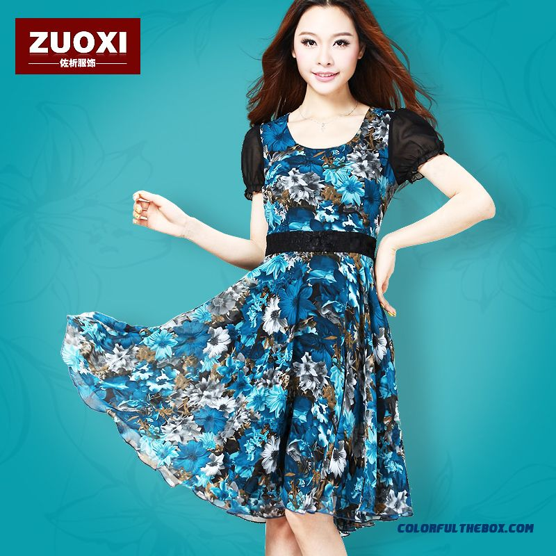 Chiffon Slim Large Size Women Dress Short Sleeve Summer Elegant