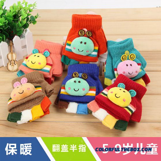Child Kids Mittens Warm Winter 6/7/8/9 Years Mittens Children Girls And Boys Students Clamshell Half Finger Cartoon Mittens