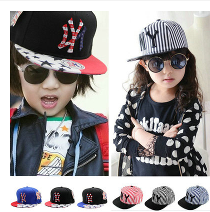 Children Kids 52-54cm Adjustable Striped Hip Hop Cap Ny Baseball Cap Flat-brimmed-brimmed Hat For Boys