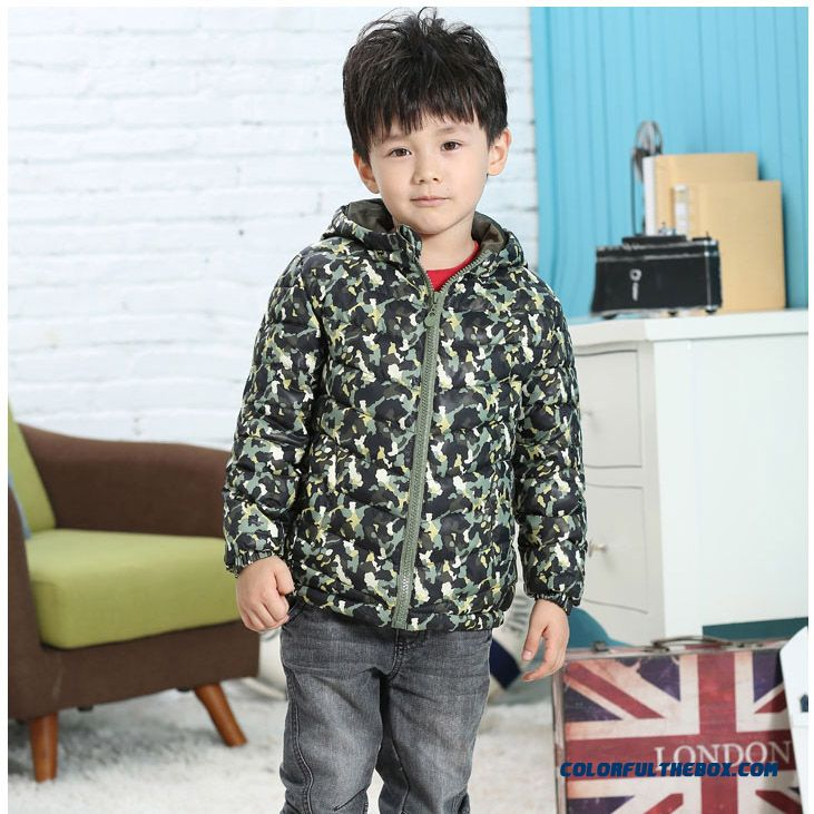 Children Kids Camouflage Coat Boys Winter Clearance Hooded Jacket - more images 2